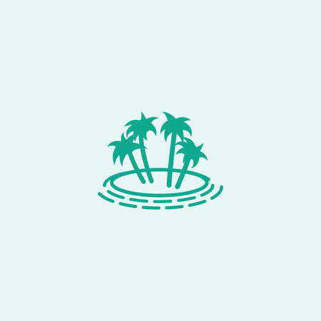 desert island: Vector with palm trees. Island with palm trees vector illustration. Stylized palm trees. Simplified tree. Desert Island palms.Tourism in warm countries.Palm Island. The leaves of the coconut palm Illustration