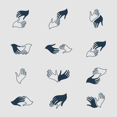 caring hands: Volunteer business template. Volunteer isolated . Vector hands picture. Volunteer union organization. Care . Care vector illustration. Hand volunteer icons. Family caring sign. Hands Illustration