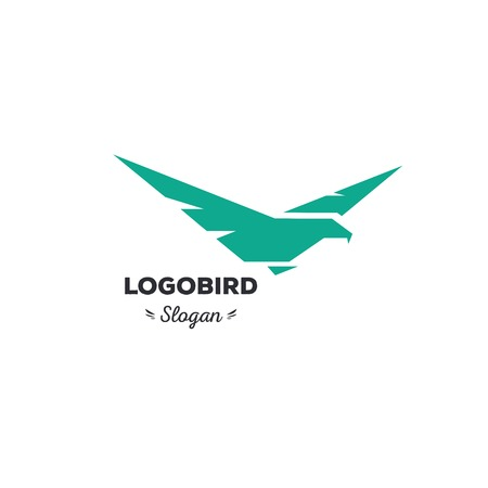 strict: Isolated, cartoon, geek, strict eagle flying, triangular vector shape, minimalism, flat, stylish, geometric stylized logotype, turquoise color logo template, bird wings feathers eagle element logo