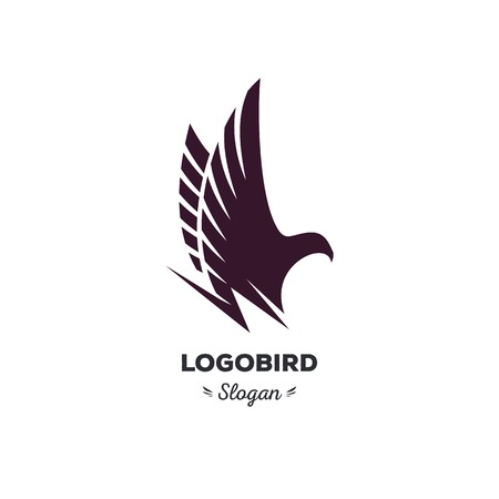 strict: Isolated, cartoon, geek, strict eagle flying, triangular vector shape, minimalism, flat, stylish, geometric stylized
