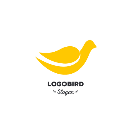 friendliness: Fun, beauty, isolated, cartoon, geek dove, vector shape, stylish, minimalistic, flat, elegant, silhouette stylized logotype, yellow color logo template Dove bird wings tail duck wings tail duck Illustration
