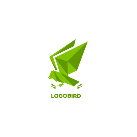 versatile: Geometric flowing eagle. Triangular shape, polygonal stylization, green color Illustration