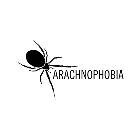 eight legs: Isolated white color spider on the black background vector logo. Wild dangerous poisonous insect illustration. Arachnophobia. Halloween icon.