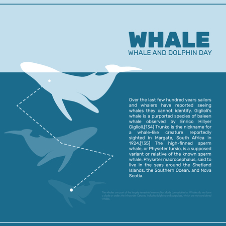 extinct: Isolated whale vector illustration. Ocean mammal on the blue background image. International whale day vector illustration. Extinct animal symbol. White and blue color