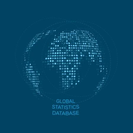 digital world: Global statistics database vector unusual dot earth vector illustration. Our planet on blue background. Digital world design