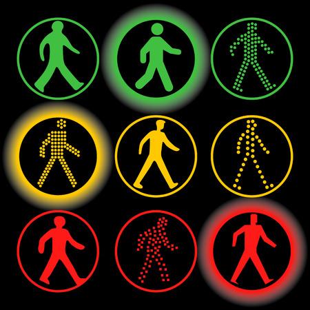 semaforo peatonal: el tr�fico aislado ilumina conjunto de elementos del vector. verde circular, de color rojo colecci�n de se�ales de tr�fico amarillo. Silueta humana en un c�rculo en el fondo negro