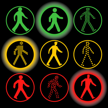control of body movement: Isolated traffic lights elements vector set. Circular green, yellow, red color road signs collection. Human silhouette in a circle on the black background
