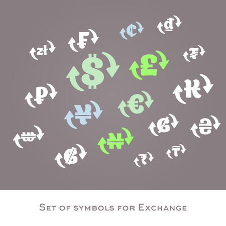 currency exchange: Isolated currency exchange signs vector set. International money symbols. Dollar, euro, pounds, yuan,ruble, zloty vector icons Illustration