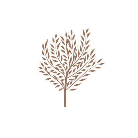 The thin trunk of the tree with leaves. Element forest and park. Elegant design. Vector illustration, symbol
