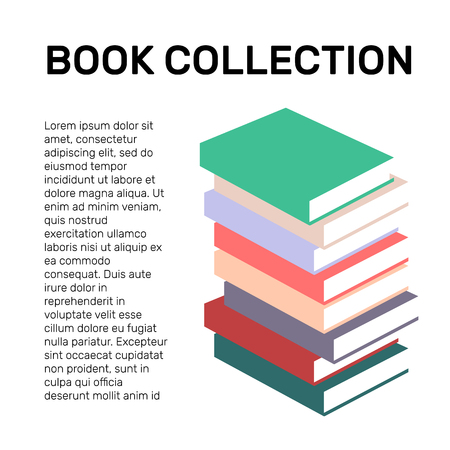self improvement: Isolated colorful books collection vector