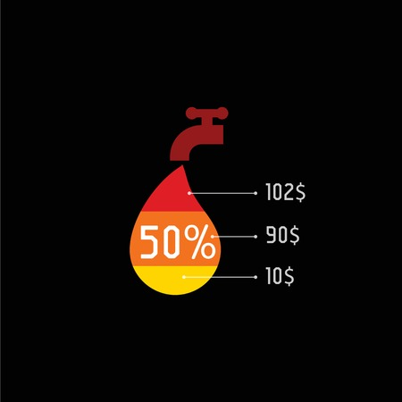 color drop: Isolated water tap with red color drop vector Illustration