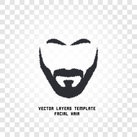 brutal: Isolated male face silhouette with mustache and beard vector