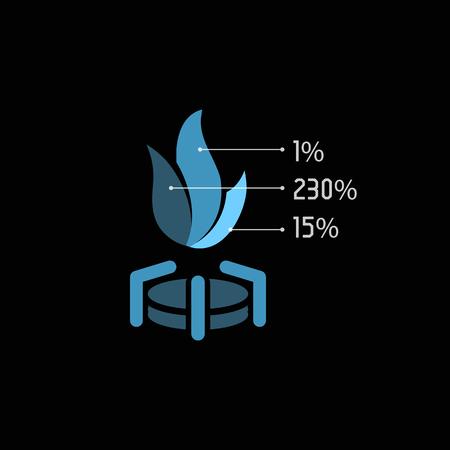 Aislado abstracto azul del vector del color de la llama de gas. ilustración del fuego caliente inusual. Combustible . icono de energía natural en el fondo negro. elemento estufa. Ilustración de vector
