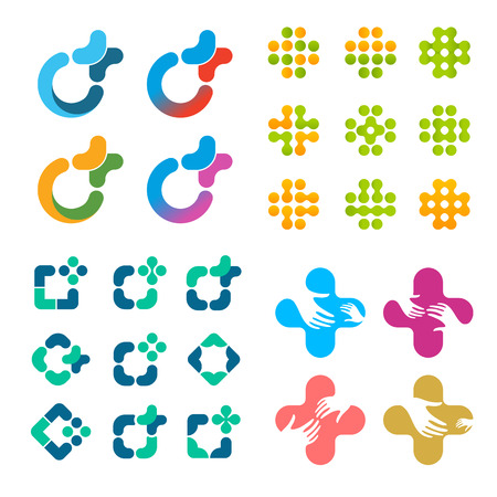 arithmetic: Isolated abstract vector logo set. Medical cross logotypes collection. Arithmetic calculator plus sign. Decorative tile element. Geometric round shape. Squares, rhombus symbols.