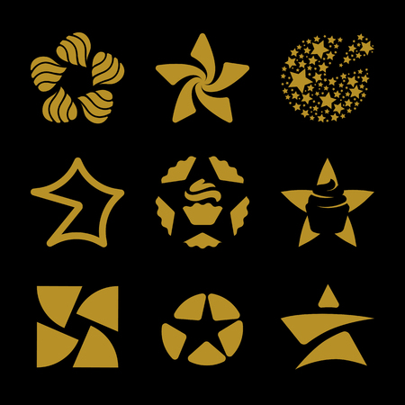 logotypes: Isolated golden stars vector logo set. Space elements logotypes collection. Abstract floral pattern on the black background.