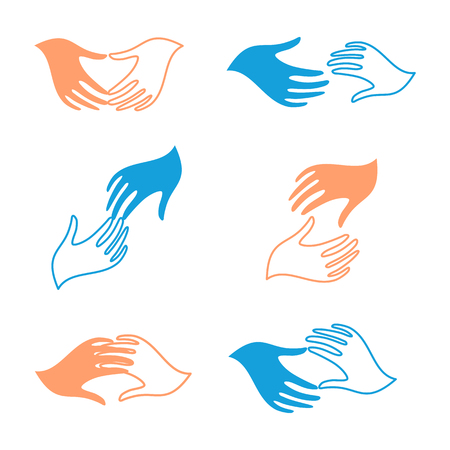 charity collection: Isolated abstract human hands vector set. Touching fingers collection. Help and support sign. Charity icon. People friendship symbol.