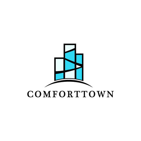building block: Isolated block of flats vector logo. Real estate rent and sale logotype. Urban building illustration. Apartment icon. Architecture element Illustration