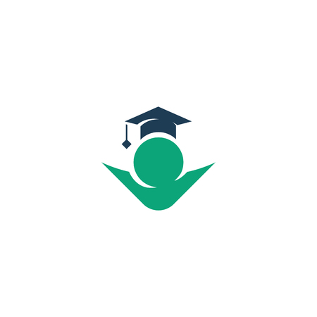 Isolated green color student contour in a blue cap vector logo. Education illustration. Minimalistic school and university logotype. Studying sign