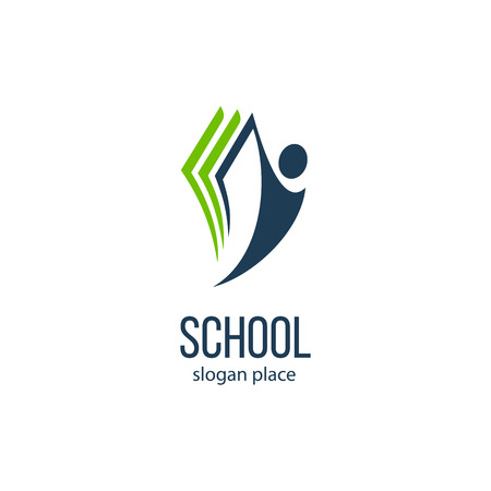 undergraduate: Isolated abstract human silhouette with book vector logo. School and university logotype. Education illustration. Studying sign. Student image.Minimalistic symbol