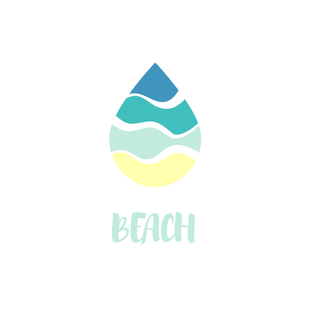 Isolated abstract blue color waterdrop vector logo. Beach symbol. Water logotype. Liquid illustration. Fresh drink sign. Sea,ocean,river element Ilustração