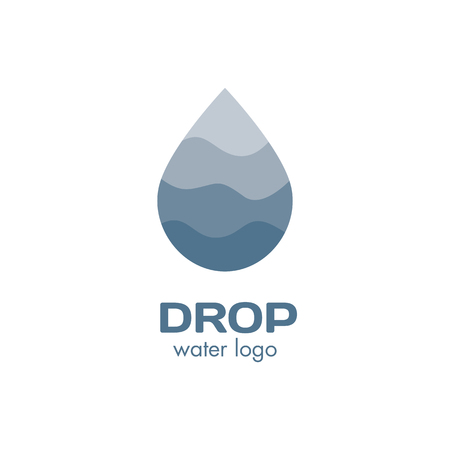 Isolated abstract blue color waterdrop vector logo. Water logotype. Liquid illustration. Fresh drink sign. Sea,ocean,river element Ilustração