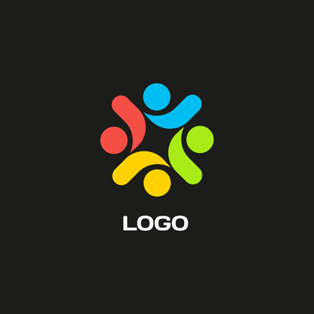 Isolated abstract colorful vector logo. Decorative flower element. People holding hands logotype. International friendship sign. Children illustration