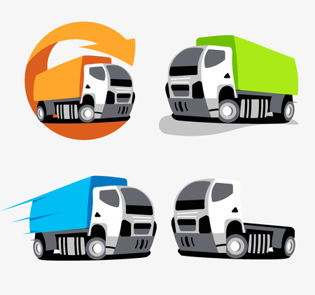 autotruck: Isolated colorful cargo truck vector logo set. Vehicles collection logotype. Cars group icons. Supply company business emblem. Logistics element.