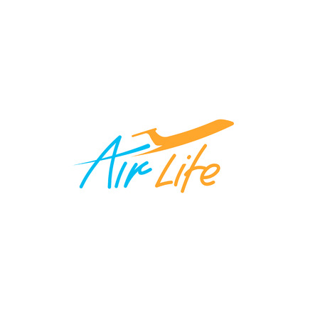 Isolated orange and blue color plane silhouette vector logo on the white background. Airplane side view logotype. Traveling company business emblem. Transport icon. Flight element.