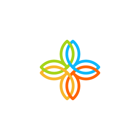pharmaceutical company: Isolated abstract colorful cross vector logo. Medical logotype. Flower petals illustration. Floral decorative element. Clinic and hospital emblem. Natural products icon Illustration