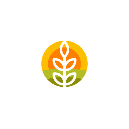 harvesting: Isolated round shape abstract agricultural vector logo. Wheat ear silhouette logotype. Farm icon. Harvesting illustration. Bakery emblem