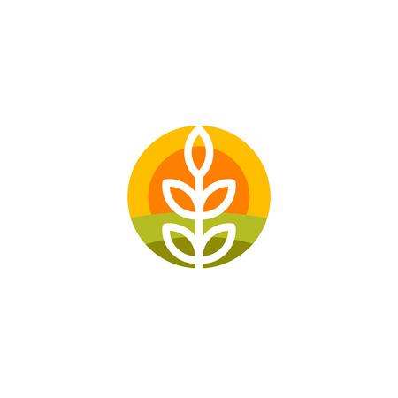 Isolato forma rotonda astratta logo vettoriale agricola. Orecchio del frumento silhouette logo. icona Farm. illustrazione raccolta. Bakery emblema