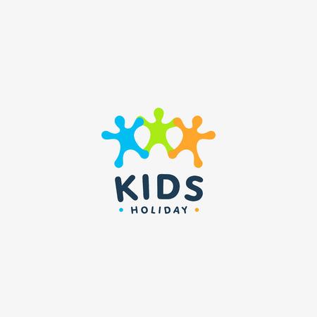 niños de colores aislados silueta vector logo. Resumen de la gente feliz logotipo. Ejemplo de los niños. emblema de jardín de infancia. Muestra divertida del juego