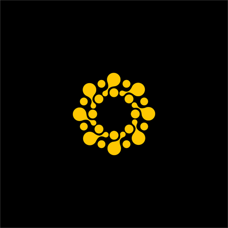 Isolated abstract orange color flower vector . Round shape sun illustration on the black background. Spiral molecular structure. Virus image. Medical element. Firework sign. Paint drops splash