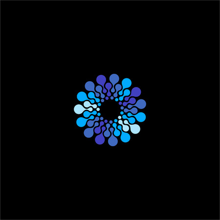 Isolated abstract blue color flower vector . Round shape water bubbles illustration on the black background. Molecular structure. Virus image
