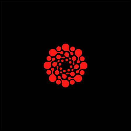 flower structure: Isolated abstract red color flower vector . Round shape sun illustration. Dotted decorative pattern. Molecular structure icon. Medical sign
