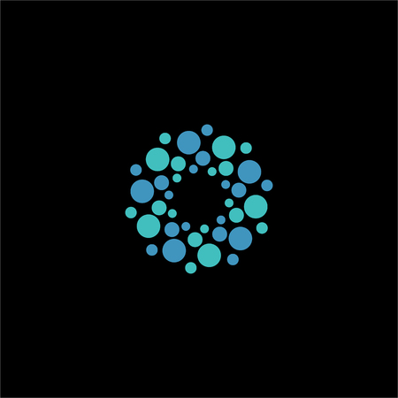 atomic structure: Isolated abstract blue color flower vector . Round shape molecular connection on the black background. Atomic structure. Virus image. Floral pattern.