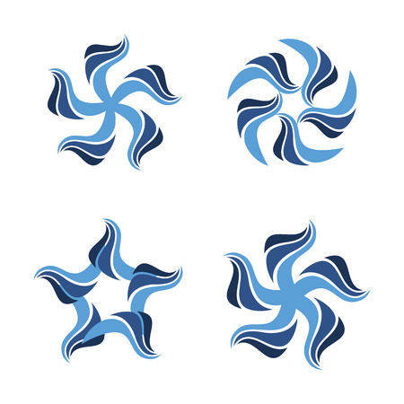 Isolated abstract blue color flowers vector set. Floral decorative elements. Water . Spinning spirals icons collection. Swirl, vortex illustration. Air conditioning sign.