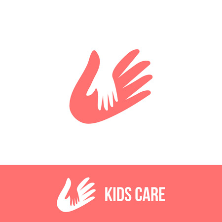 child care: Isolated child and adult hands vector . Negative space . Family illustration. Kids care icon. Orphanage symbol. Children adoption sign. Charity campaign emblem.