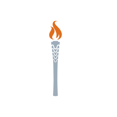 flambeau: Torch vector icon isolated on white. fire. Symbol of  games. Flambeau flat style . Cresset sign. Flame illustration. Flaming figure. Illustration