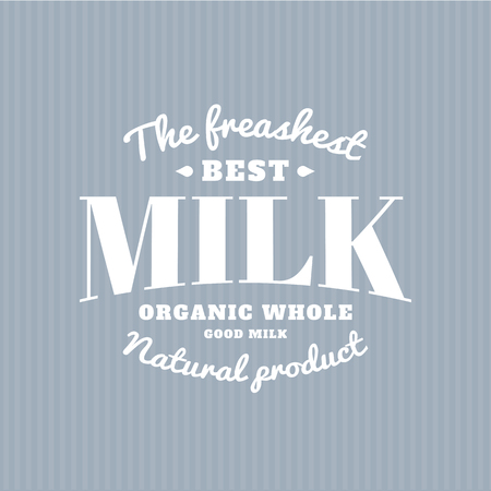 milk production: Isolated milk vector . White color writing. Dairy products emblem. Retro style. Old school sticker. Modern font. Natural fresh drink. Farm production. Illustration