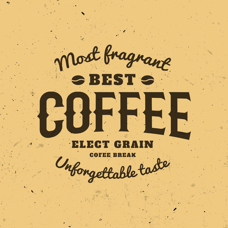 energetic: Isolated coffee on the brown background. Retro style . Old school sticker. Modern font. Calligraphic writing. Energetic drink icon.