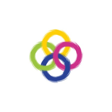 ring road: Four intersecting colored rings with ragged edges. Vector illustration. Illustration