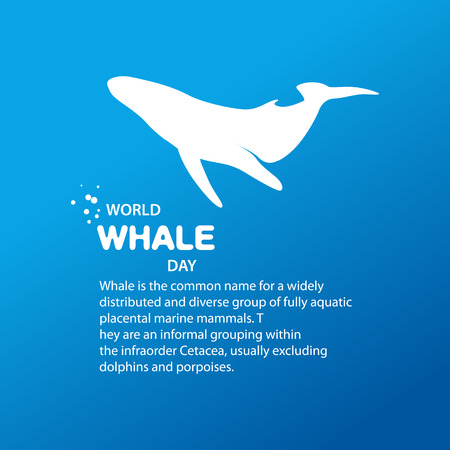 symbol icon: Isolated whale vector illustration. Ocean mammal on the blue background image. International whale day vector illustration. Extinct animal symbol. White and blue color