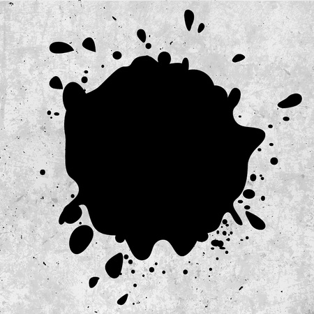 ink stain: Isolated black color ink blotch vector logotype. Paint stain logo. Dust illustration Illustration