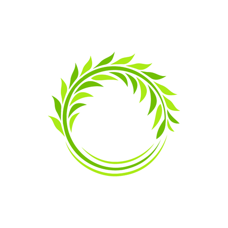 green wheat: Isolated abstract round shape green color plant vector logo. Wheat ear logotype. Circular wreath illustration. Agricultural industry element. Leaves sign. Natural symbol