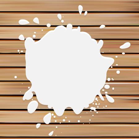 blotch: Isolated white color blotch vector logo. Milk logotype. Paint stain illustration on the wooden background
