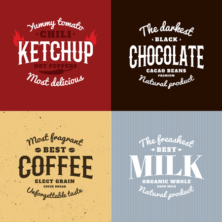 organic peppers sign: Isolated ketchup,chocolate,coffee,milk vector logo set. Natural products logotypes collection. Retro style emblems. Old school design stickers. Calligraphic elements. Modern font.
