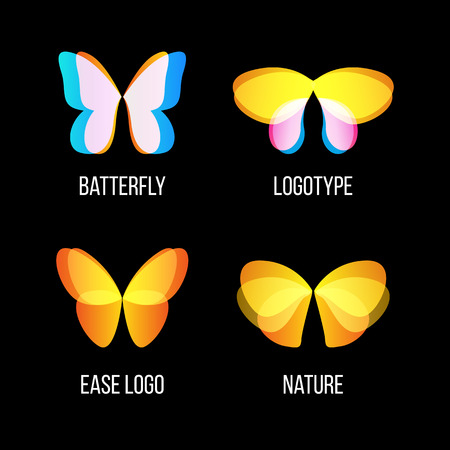 lightness: Isolated colorful butterflies vector logo set. Flying insects logotypes collection. Wild nature elements icons. Wings illustrations Illustration