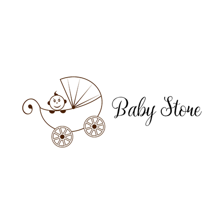 swaddling clothes: Fun, beauty, children, personalized perambulator. Riding baby cart. Abstract oval vector shape. Silhouette, flat, outline, lineart, contour, cartoon, drawing stylized logotype Black and white logo template Baby store element logo