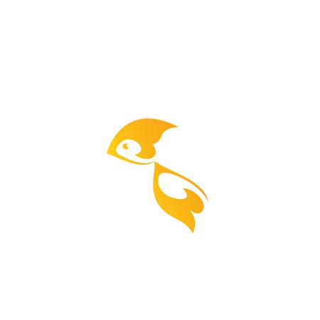 logo poisson: Gold fish logo design template. Goldfish vector illustration. Abstract, unusual flat stylized fish. Yellow, orange color logo template